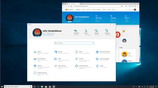 La aplicación de configuración ahora tiene un encabezado que muestra los detalles de su cuenta, el estado de actualización del sistema y otros detalles.