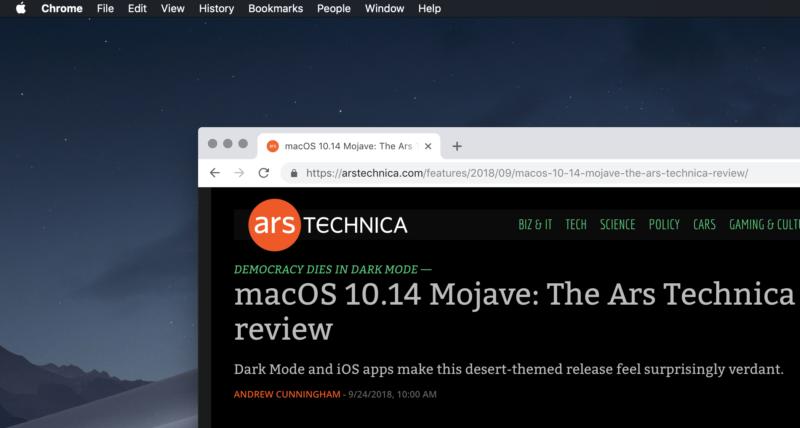 Google Chrome en macOS Mojave.